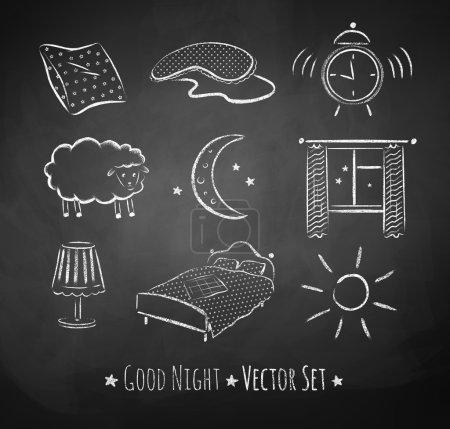 Illustration for Good night sketchy set. Chalked illustrations on school board background. - Royalty Free Image