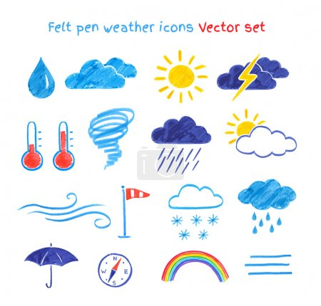 Illustration for Collection of felt pen child drawings of weather symbols. - Royalty Free Image