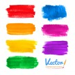 Set of hand drawn watercolor colorful brush stroke...