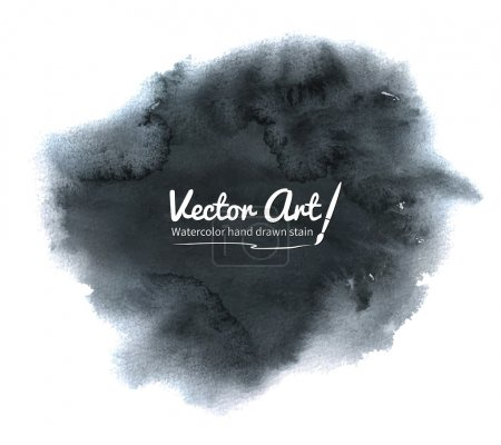 Illustration for Watercolor vector black hand drawn stain. - Royalty Free Image