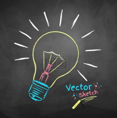 Illustration pour Dessin à la craie vectorielle de l'ampoule . - image libre de droit
