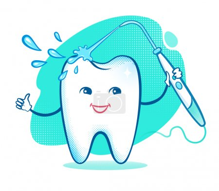 Happy tooth with irrigator.