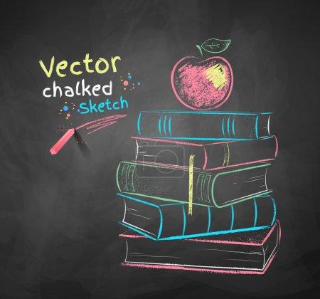 Photo pour Dessin à la craie vectorielle de pomme sur les livres - image libre de droit