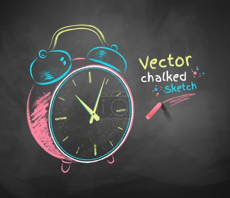 Illustration for Color vector chalkboard drawing of alarm clock. - Royalty Free Image