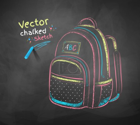 Illustration for Vector color chalk drawing of school bag. - Royalty Free Image