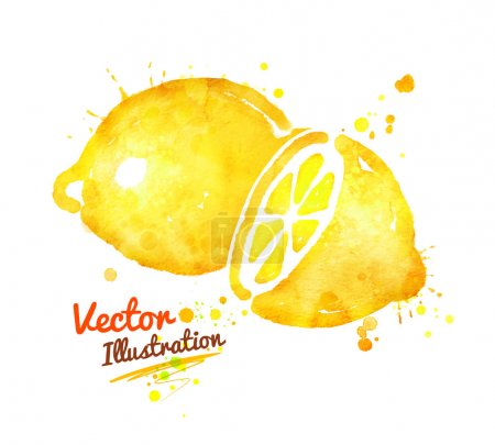 Illustration for Watercolor vector illustration of lemons with paint splashes. - Royalty Free Image