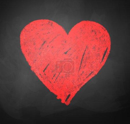 Illustration pour Enfants couleur dessin crayé de coeur sur fond tableau noir de l'école. - image libre de droit