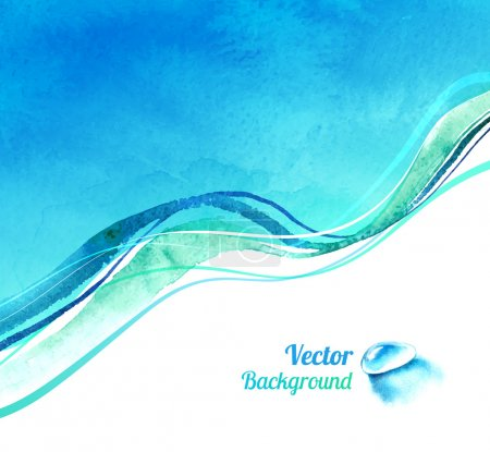 Illustration for Watercolor vector background with waves and water drop - Royalty Free Image