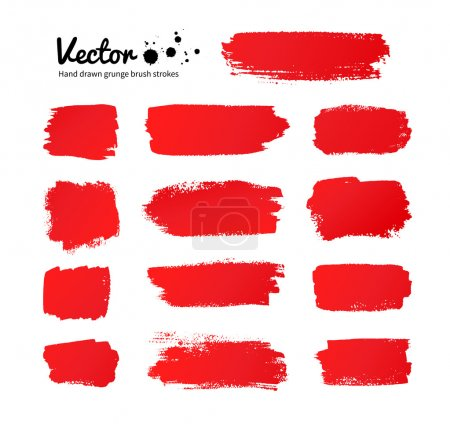 Illustration for Vector grunge red paint brush strokes. - Royalty Free Image