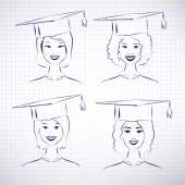 students wearing graduation hats