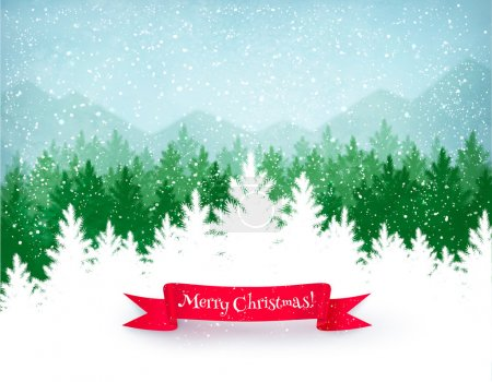 Illustration for Christmas landscape background with falling snow, green spruce forest silhouette, mountains, and red ribbon banner. - Royalty Free Image