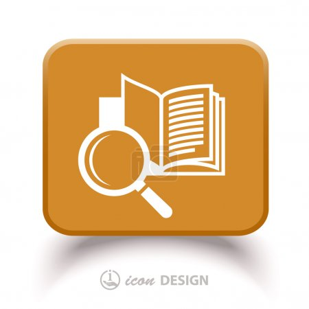 Pictograph of book with magnifying glass. Vector i...