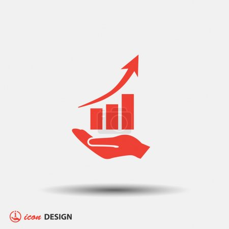 Illustration for Pictograph of business graph in hand icon - Royalty Free Image