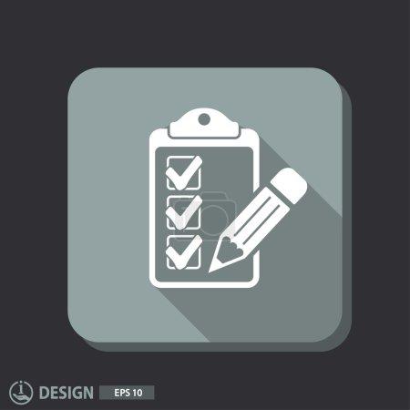 Illustration pour Pictographe de liste de contrôle et de stylo. icône vectorielle - image libre de droit