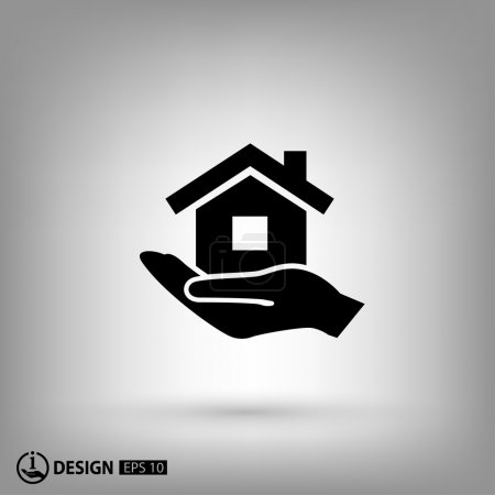 Illustration for Simple pictograph of house icon - Royalty Free Image