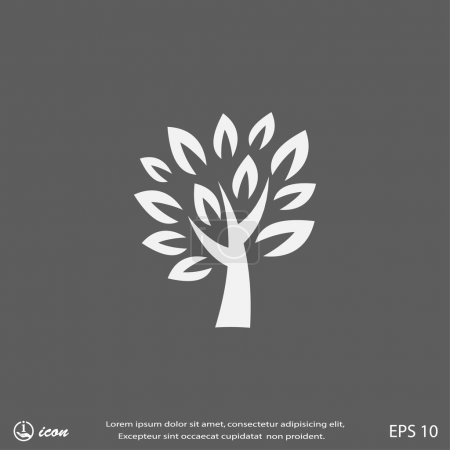 Illustration for Pictograph of tree with leaves icon - Royalty Free Image