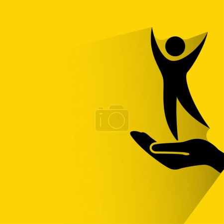 Illustration for Pictograph of success man. Person silhouette on hand - Royalty Free Image