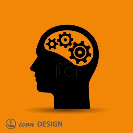 Illustration pour Pictogramme des engrenages dans la tête. icône vectorielle - image libre de droit