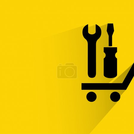 Pictograph of tools on cart