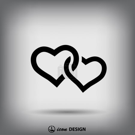 Illustration for Pictograph of two hearts icon vector illustration - Royalty Free Image