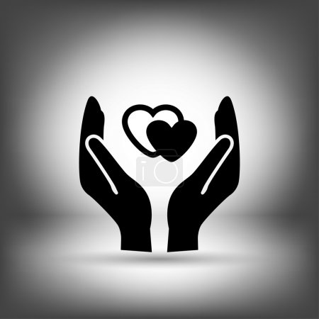 Pictograph of hearts in hand