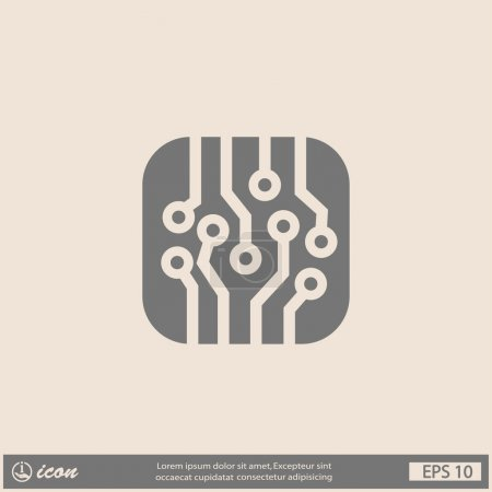 Illustration for Pictograph of circuit board icon illustration - Royalty Free Image