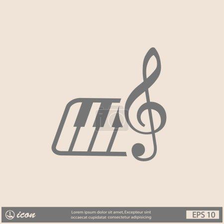 Illustration pour Pictogramme de musique clés et clavier icône illustration - image libre de droit