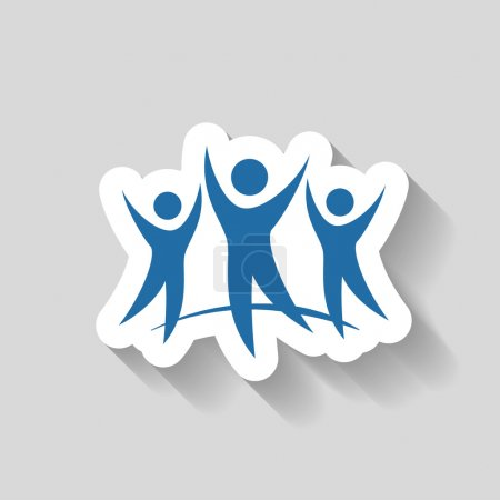 Illustration for Pictograph of success team vector icon - Royalty Free Image