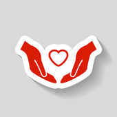 Pictograph of heart in hands vector icon