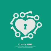 Pictograph of heart with keys icon vector illustration
