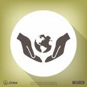 Ruce s ikonou zeměkoule plochý design