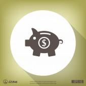 Prase Pokladnička plochý design ikony