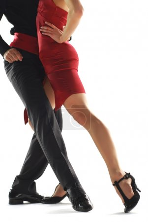 Photo for Two tango dancers passion on the floor isolation on white background - Royalty Free Image