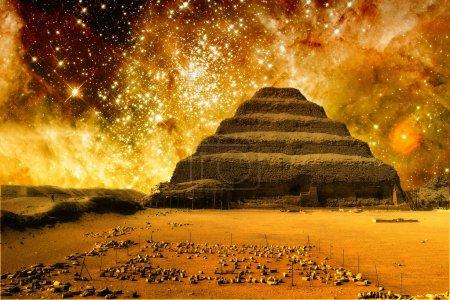 Photo-montage of Step Pyramid at Saqqara and the T...