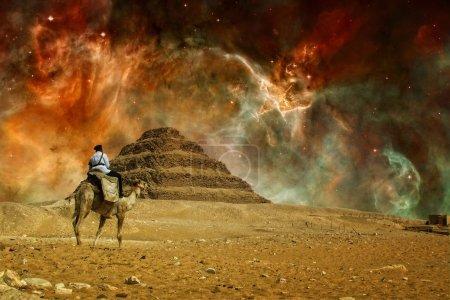 Photo-montage of Step pyramid of Djoser at Saqqara...