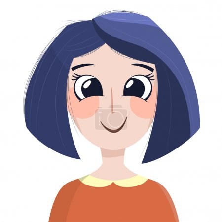 Vector illustration with cute happy girl with blue...
