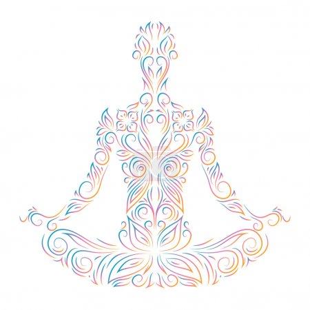 Illustration for Ornamental silhouette of person sitting in lotus pose - Royalty Free Image