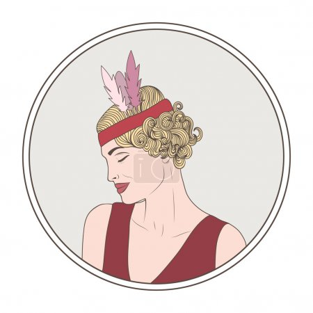 illustration with Retro  woman of 20s.