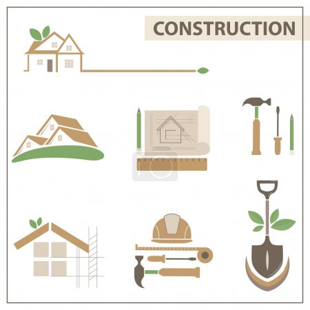 Set with construction icons and logos