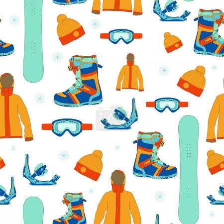 Seamless pattern with snowboard equipment