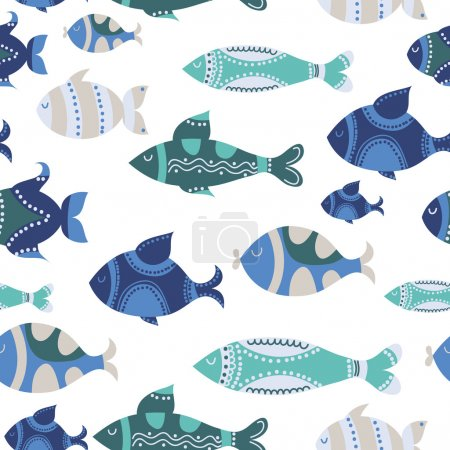 Pattern with cute ornamental fish and flowers