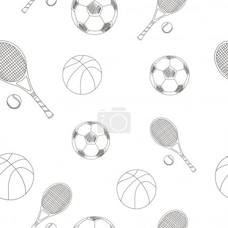 pattern with sports equipment