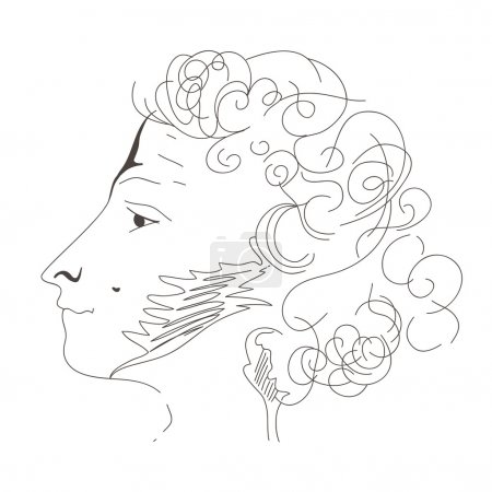 Hand drawn profile Alexandr Pushkin
