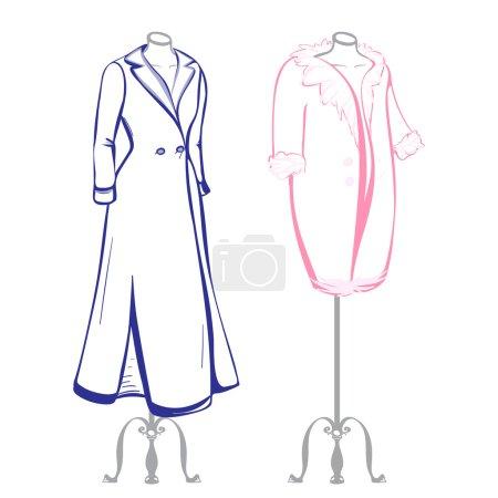 Short and long coat female mannequins dressed