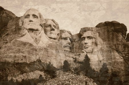 Mt. Rushmore National Memorial Park in South Dakota with sepia tone vintage overlay.