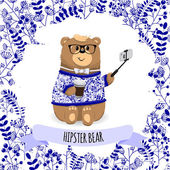 Funny teddy bear in green sweater and purple tie bow with coffee and phone in hands. Cute vector card hipster concept.