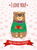 Inspirational romantic and love card for Happy Valentines Day. Stylish poster template for wedding, mothers day, birthday, invitations. Bright illustration with cute bear with heart in arms.