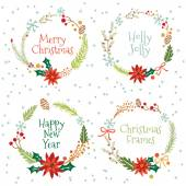 Vintage Merry Christmas And Happy New Year Set of Wreathes with Calligraphic And Typographic Wishes and Winter Holiday Elements. Greeting hand drawn illustration for Xmas.