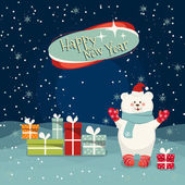 Happy New Year card with Calligraphic Wishes and Winter Holiday Elements, cute bear, colorful gift boxes. Greeting illustration for Xmas.