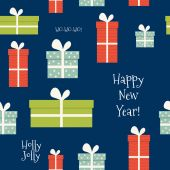 Vintage Merry Christmas And Happy New Year seamless pattern